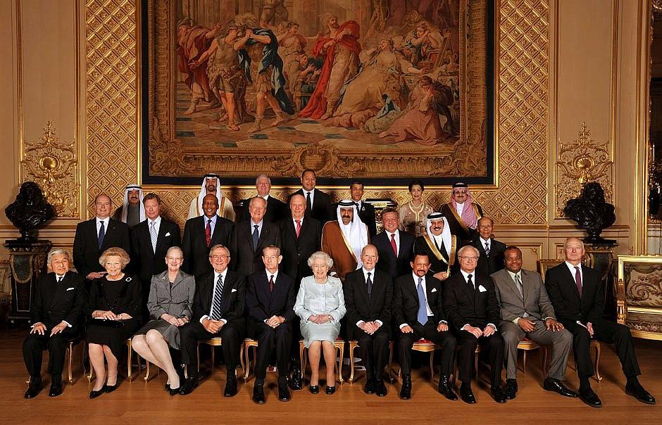 King Michael sat to the right of the Queen in the group photo of all the Royal House heads invited to the Diamond Jubilee in 2012