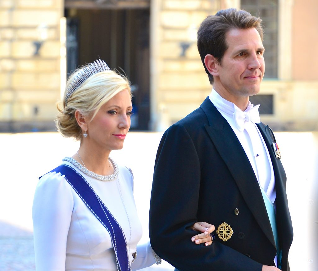 Crown Prince Pavlos of Greece and his wife Crown Princess Marie-Chantal on the way to the castle church at the Royal Palace in Stockholm before the wedding of Princess Madeleine and Christopher O'Neill on June 8, 2013.