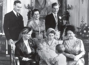 Queen Elizabeth the Queen mother, Princess Elizabeth with Princess Anne,Vice Admiral the Earl Mountbatten of Burma, Princess Margarita of Hohenlohe-Langenburg, Hon Andrew Elphinstone, Princess Alice Countess of Athlone, and a young Prince Charles with his back to camera on Princess Anne's christening day