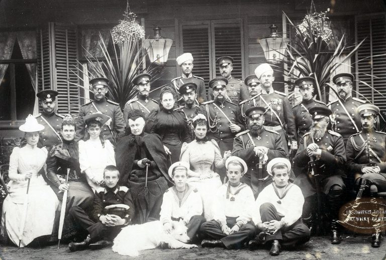 A gathering of members of the Romanov family in 1892, at the summer military manoeuvres in Krasnoye Selo.