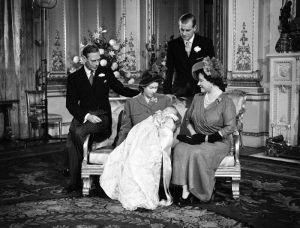 King George, Queen Elizabeth the Queen mother, Princess Elizabeth, Prince Charles & Prince Philip on Prince Charles's christening day